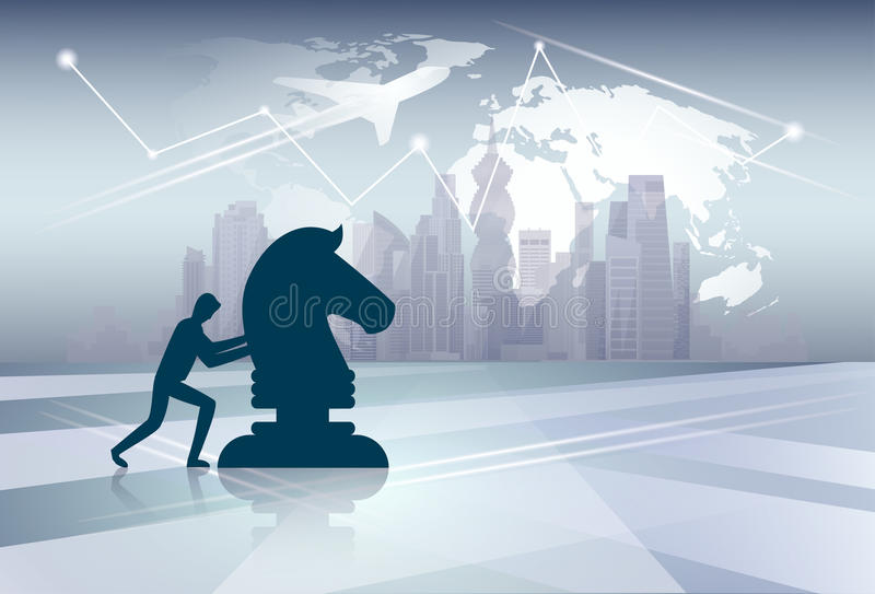 剪影推挤Cess形象在世界地图背景的新的想法战略概念的商人 向量例证