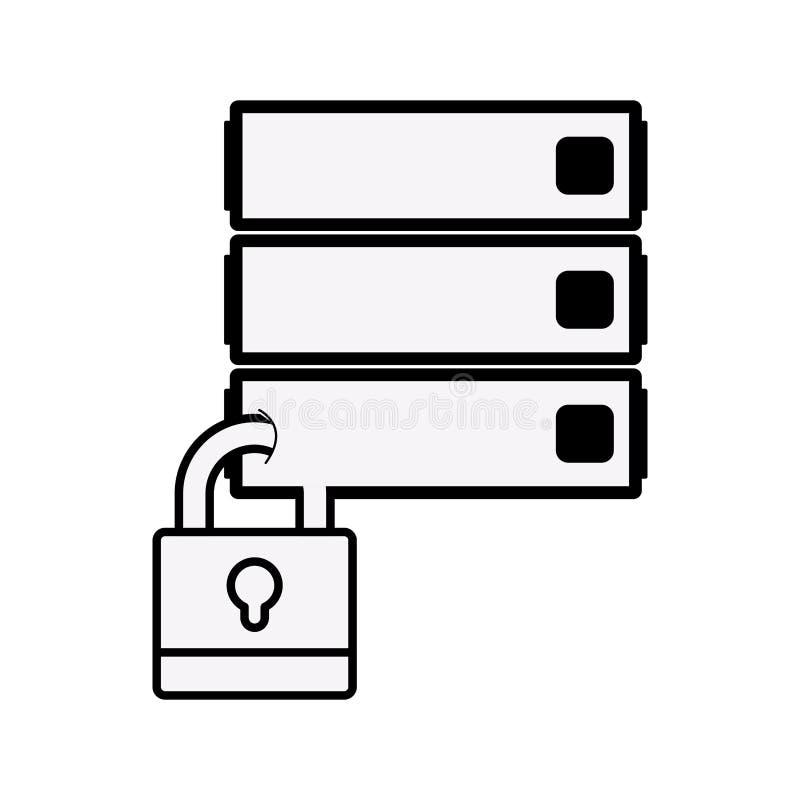 剪影有挂锁的文件柜 向量例证