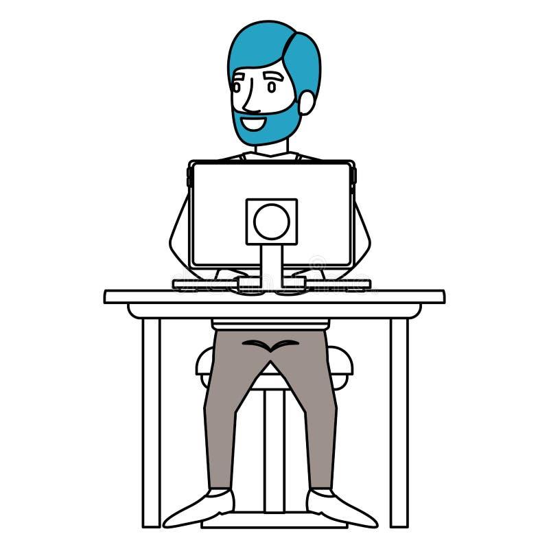 剪影有胡子的人和边的颜色部分有正装的分开了头发和坐在书桌的椅子与 库存例证