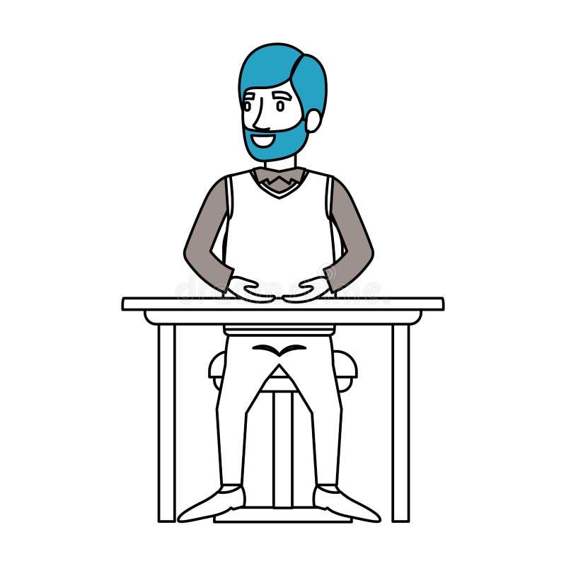 剪影有胡子的人的颜色部分正装和头发边的分开了和坐在桌面的椅子 皇族释放例证