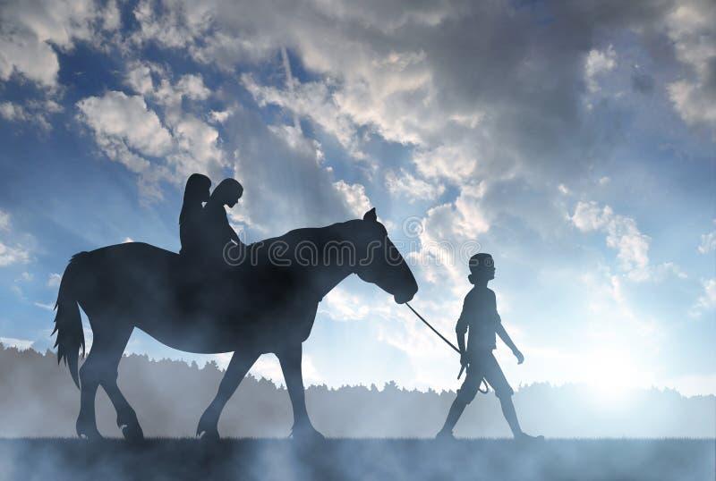 剪影有马的女孩 免版税库存图片