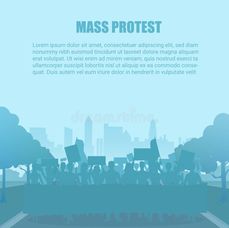 剪影样式抗议人人群传染媒介例证 显示在城市概念展示 皇族释放例证