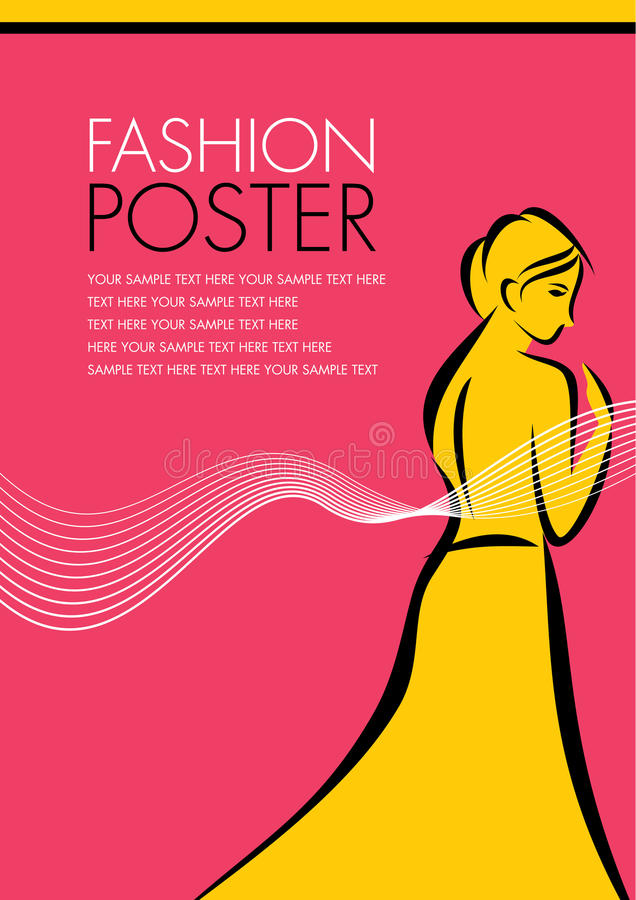 剪影样式的一个俏丽的时尚女孩 海报设计 向量例证