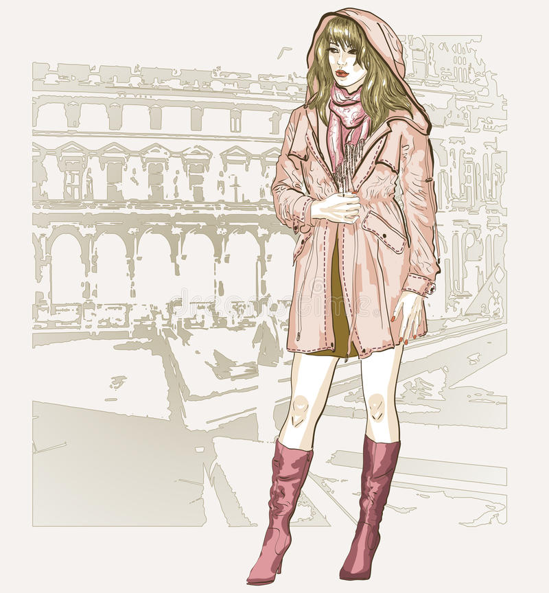 剪影样式的俏丽的时尚女孩 库存例证