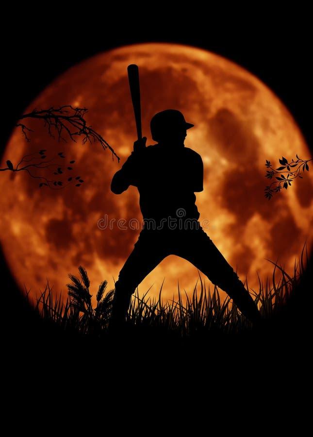 剪影棒球运动员大月亮 向量例证