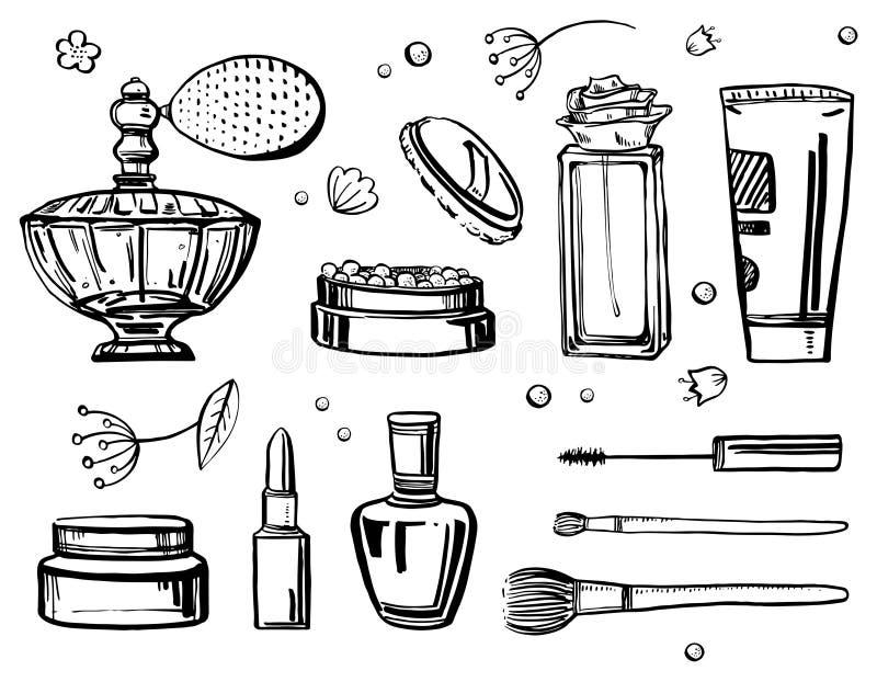 剪影概述设置与妇女辅助部件 空白辅助部件背景装饰性的化妆用品的香水 向量手拉的例证 库存例证