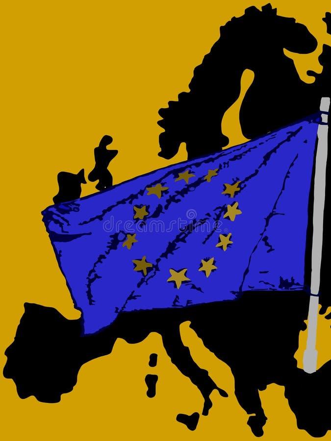 剪影欧洲和它的旗子 向量例证