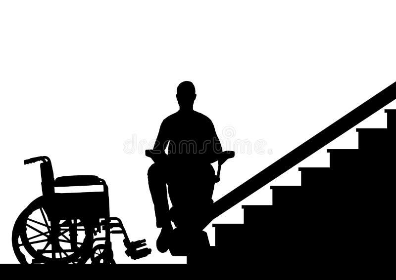 剪影残疾人在残疾的电梯上升在台阶 皇族释放例证