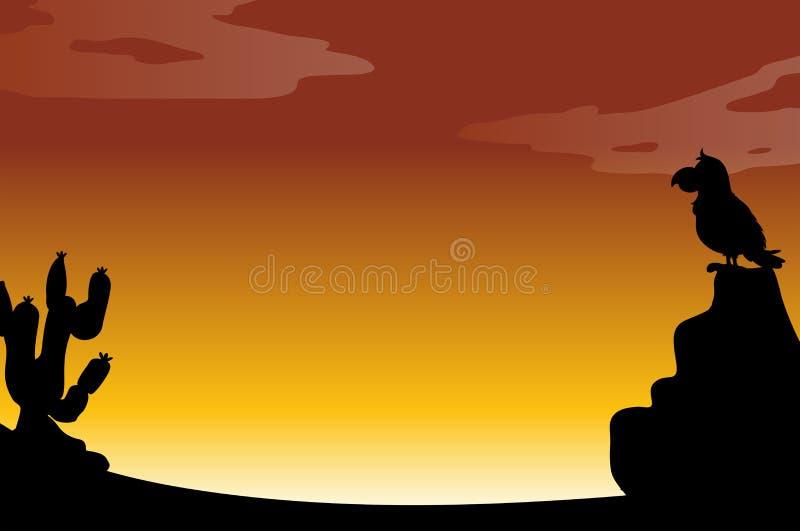 剪影沙漠 向量例证