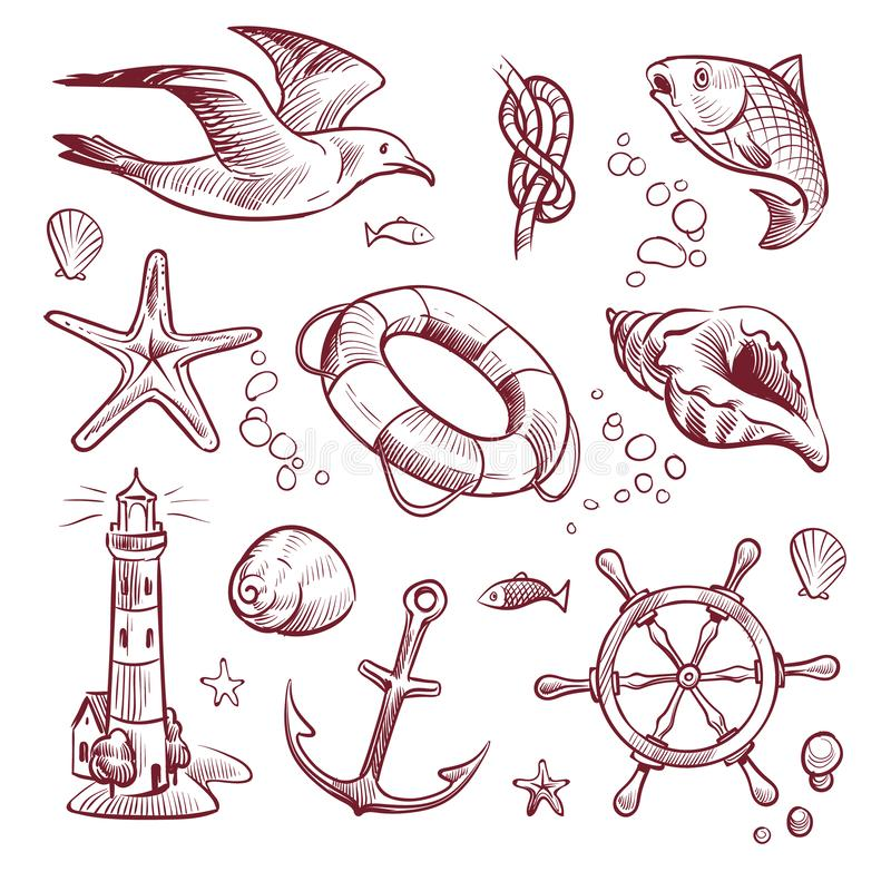 剪影海洋集合 海海洋远航灯塔海鸥海星船锚方向盘鱼 海军船舶手拉 向量例证