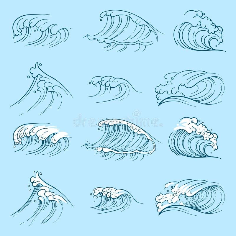 剪影海浪 手拉的海风暴波浪 皇族释放例证