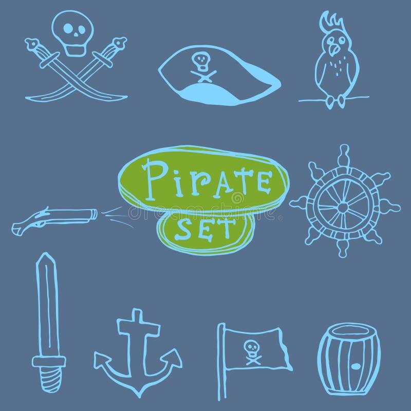 剪影海盗被设置 拉长的现有量例证 向量例证