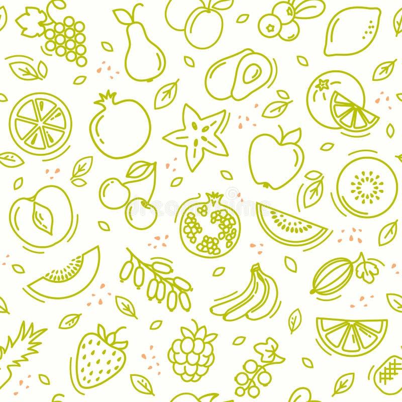 剪影混合了果子无缝的夏天样式背景传染媒介格式 免版税库存图片