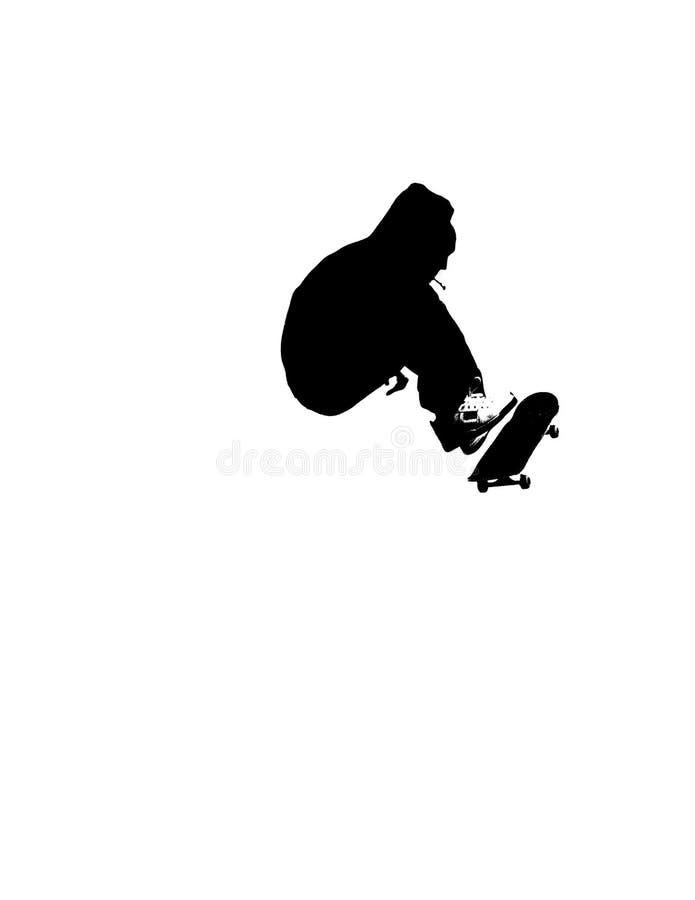 剪影溜冰板运动 库存例证