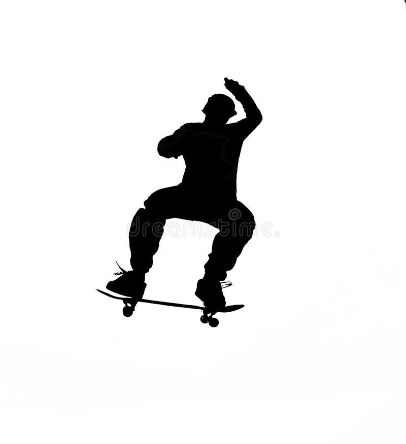 剪影溜冰板运动 皇族释放例证