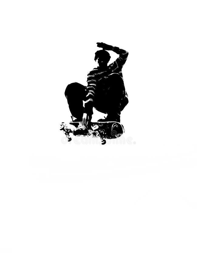剪影溜冰板运动 免版税库存照片