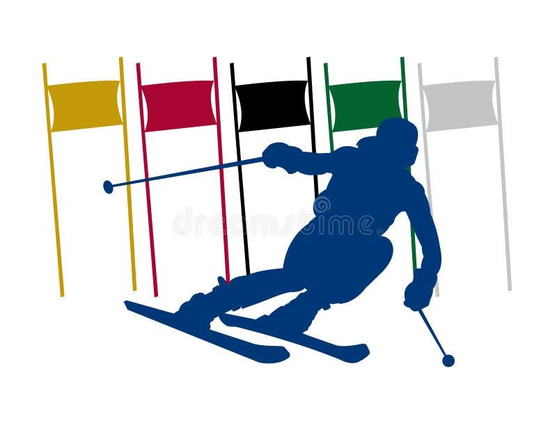 剪影滑雪者障碍滑雪 库存例证