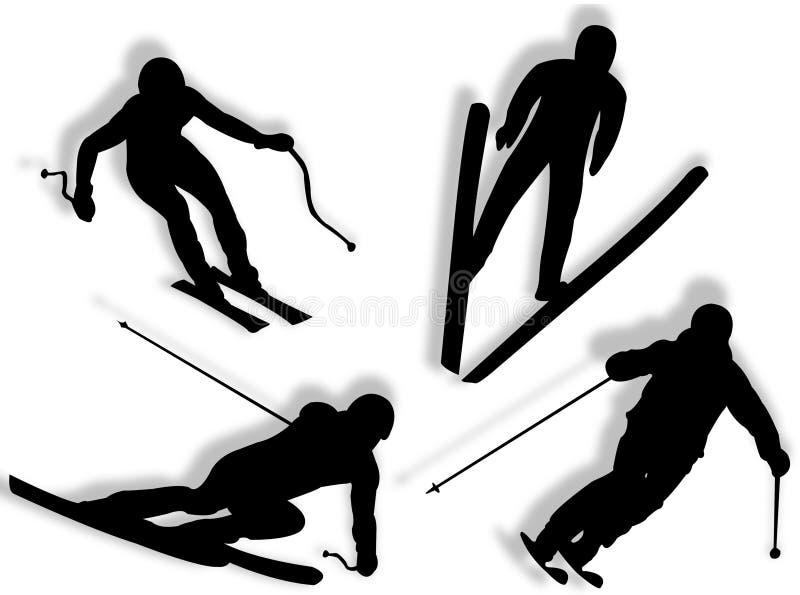 剪影滑雪者 向量例证
