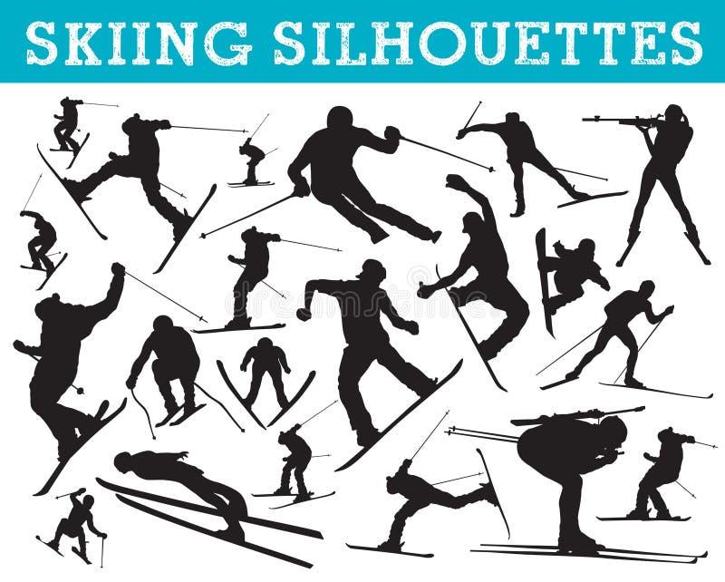 剪影滑雪 皇族释放例证