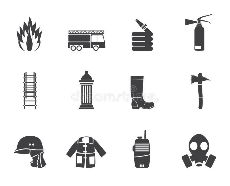 剪影火旅团和消防员设备象 向量例证