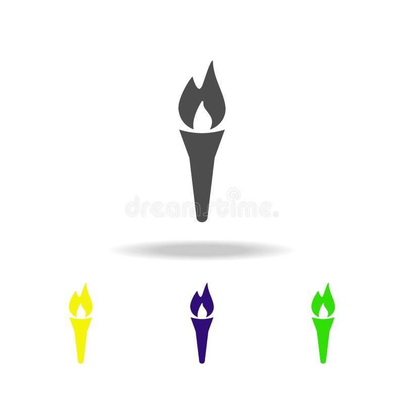 剪影火炬多彩多姿的象 大烛台标志被隔绝的多彩多姿的象 冬季体育比赛学科 标志,标志可以是 皇族释放例证