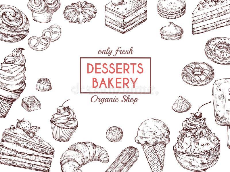 剪影点心背景 甜蛋糕可口饼新月形面包和松饼 手拉的面包店菜单传染媒介模板 皇族释放例证