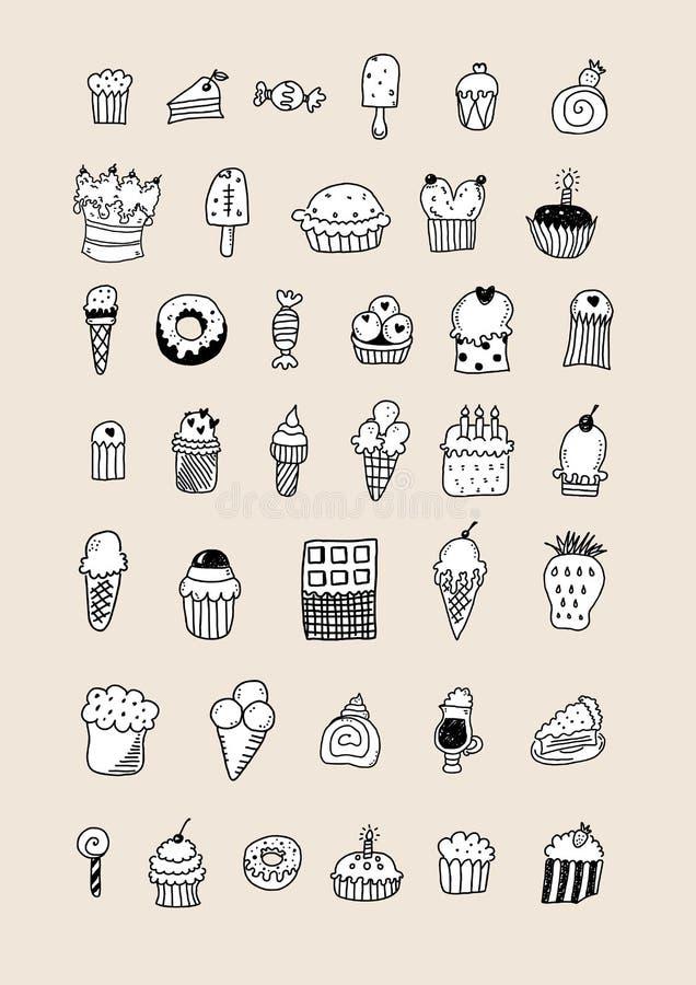 剪影点心 蛋糕、酥皮点心和冰淇淋、果馅奶酪卷和松饼 手拉的果子点心传染媒介集合 com接地地球例证文本 皇族释放例证
