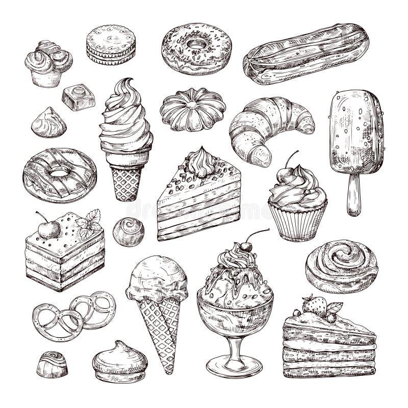 剪影点心 蛋糕、酥皮点心和冰淇淋、苹果果馅奶酪卷和松饼在葡萄酒板刻样式 手拉的果子 皇族释放例证