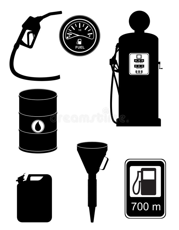 黑剪影燃料集合象传染媒介例证 库存例证