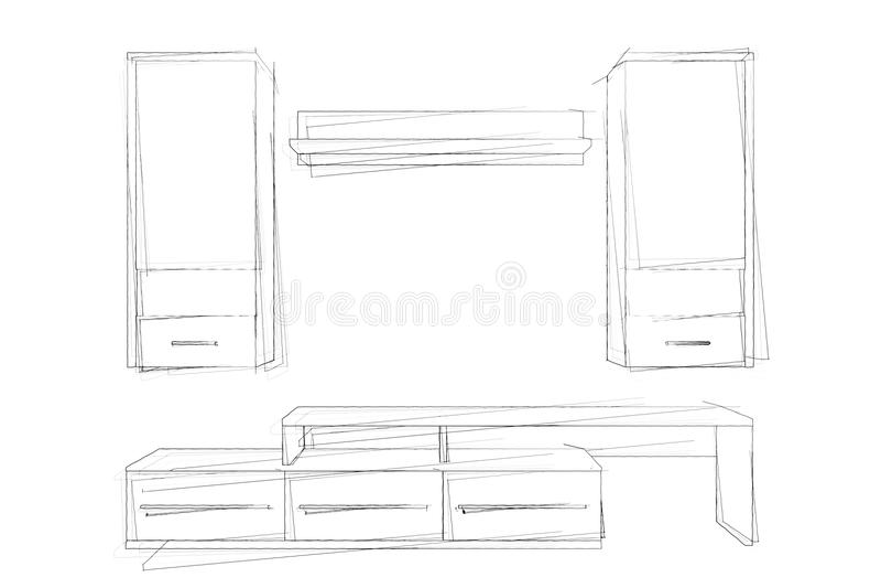 剪影现代客厅组合壁橱手图画  3d回报 库存例证