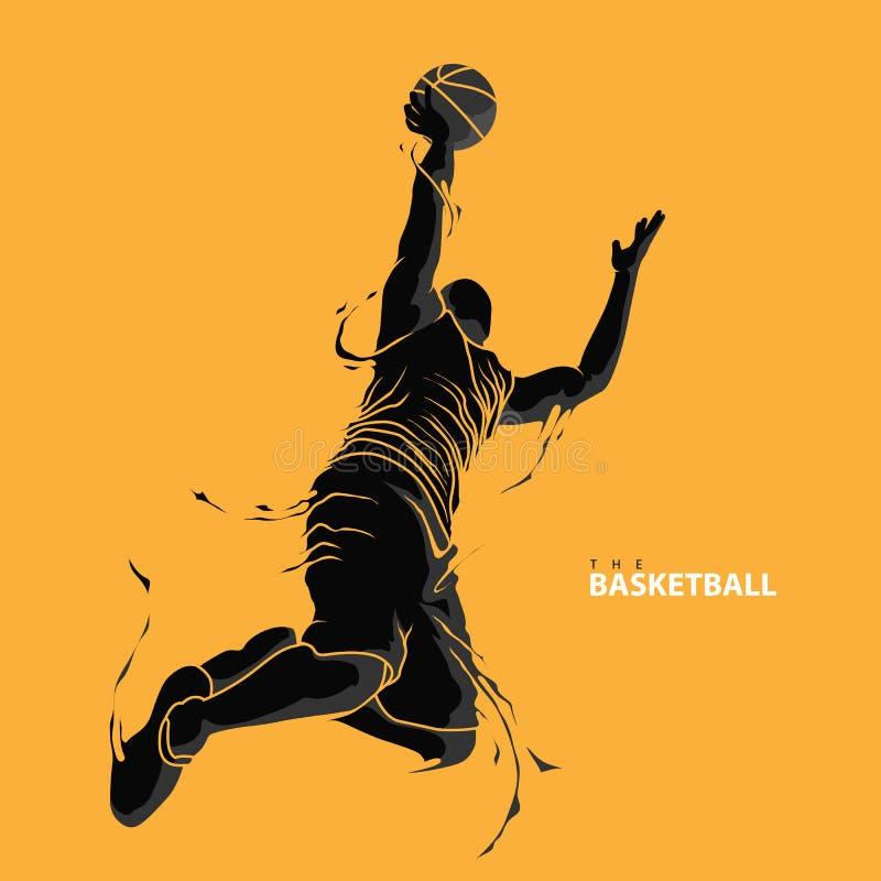 剪影篮球运动员飞溅跳投 免版税库存图片