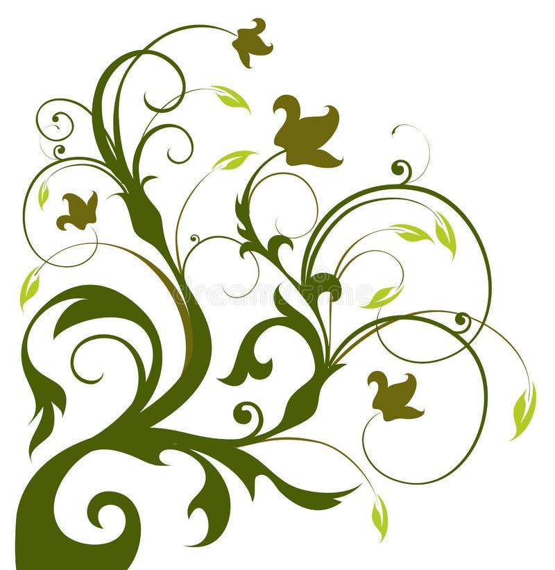剪影结构树藤 向量例证