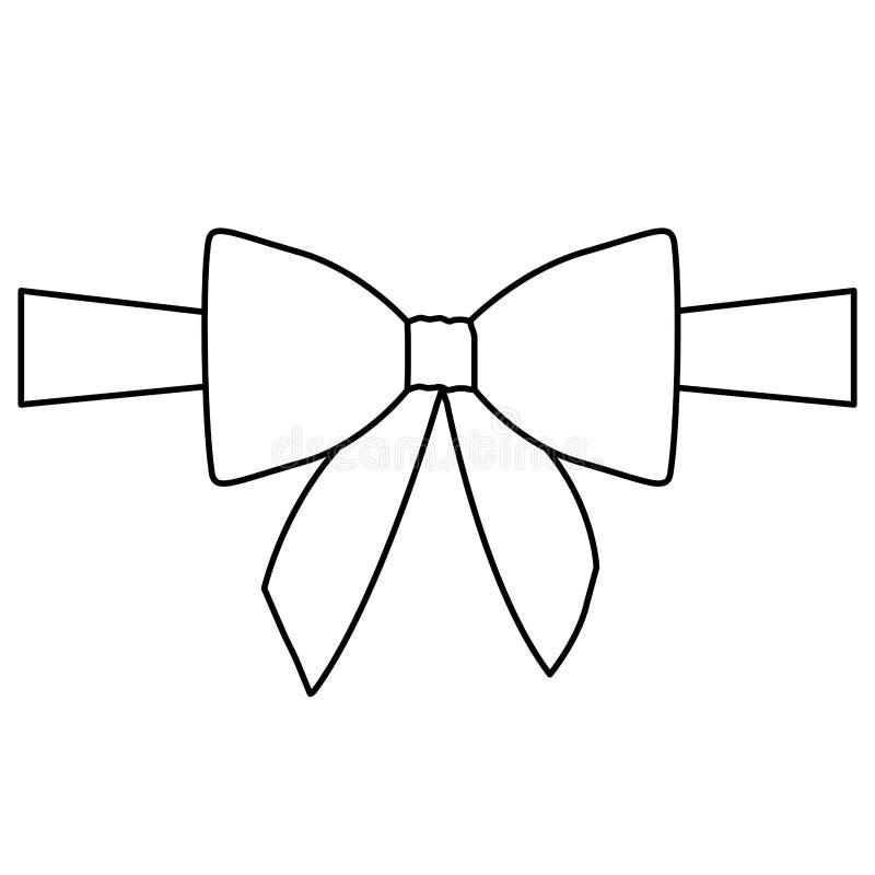 剪影缎中心丝带和弓包裹 向量例证