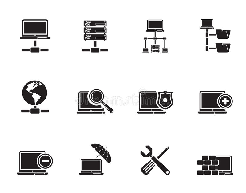 剪影网络,服务器和主持象 向量例证