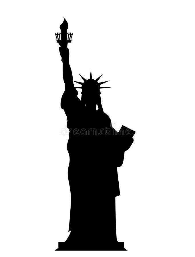 剪影自由女神像在美国 等高国家标志  向量例证