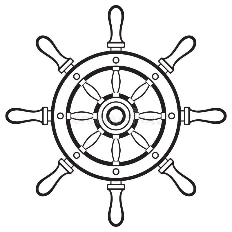 剪影船舵 库存例证