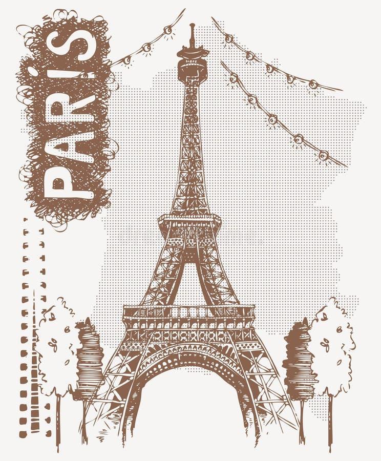 剪影艾菲尔铁塔在巴黎,法国 在葡萄酒样式的向量例证 T恤杉设计用画艾菲尔铁塔的手 库存例证