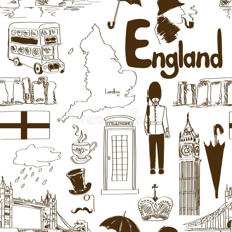 剪影英国无缝的样式 皇族释放例证