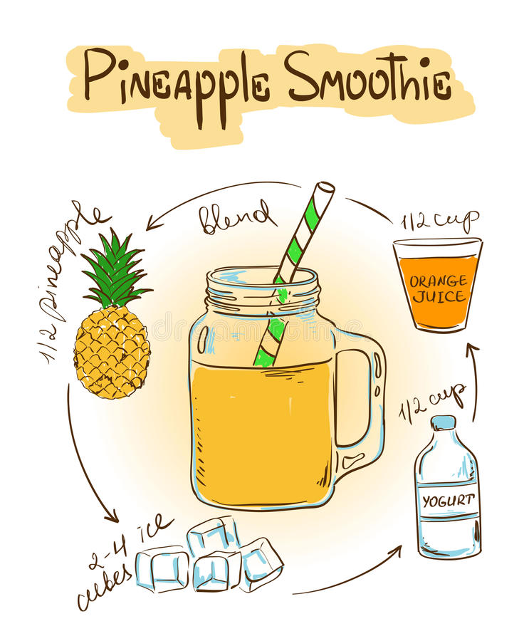 剪影菠萝圆滑的人食谱 向量例证