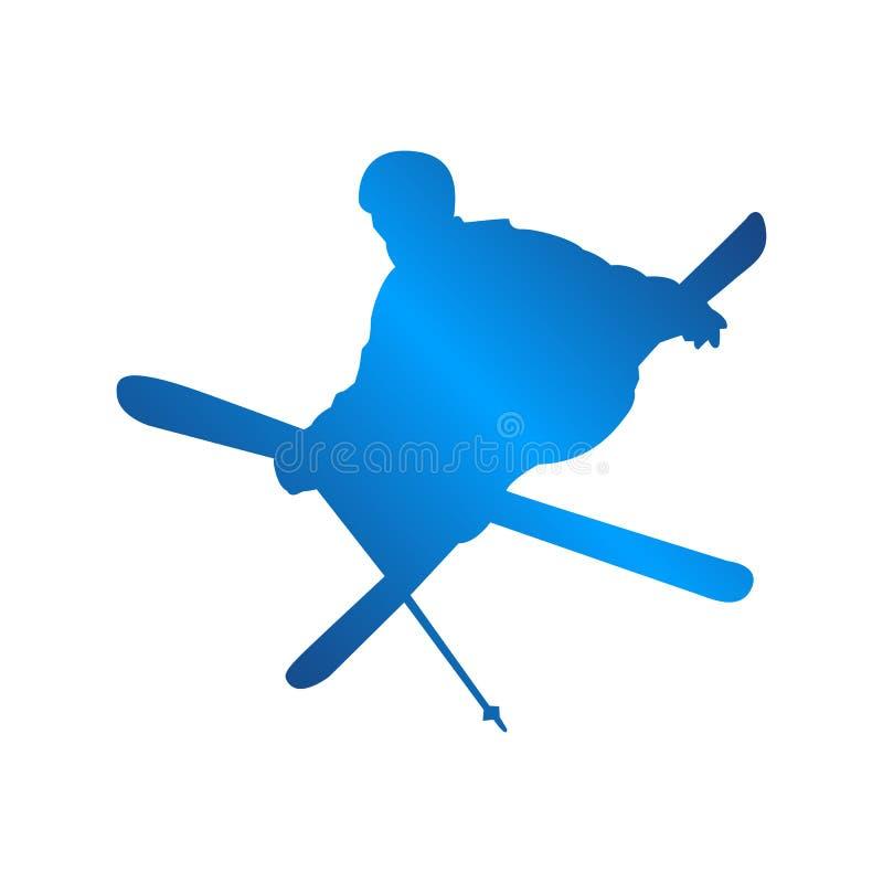 剪影蓝色滑雪人商标设计传染媒介例证 库存例证