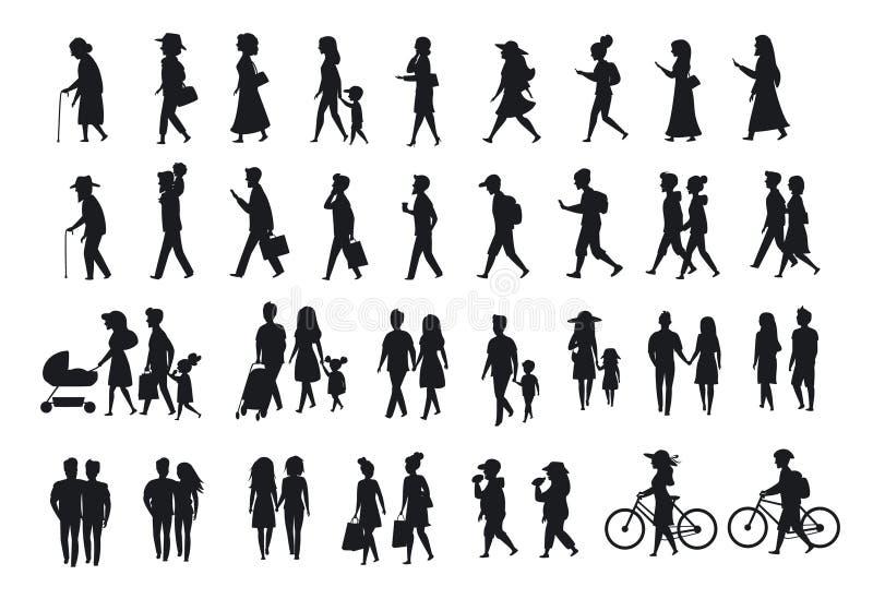 剪影被设置人走 家庭夫妇、父母、男人和妇女另外年龄一代走与自行车,智能手机, coff 库存例证
