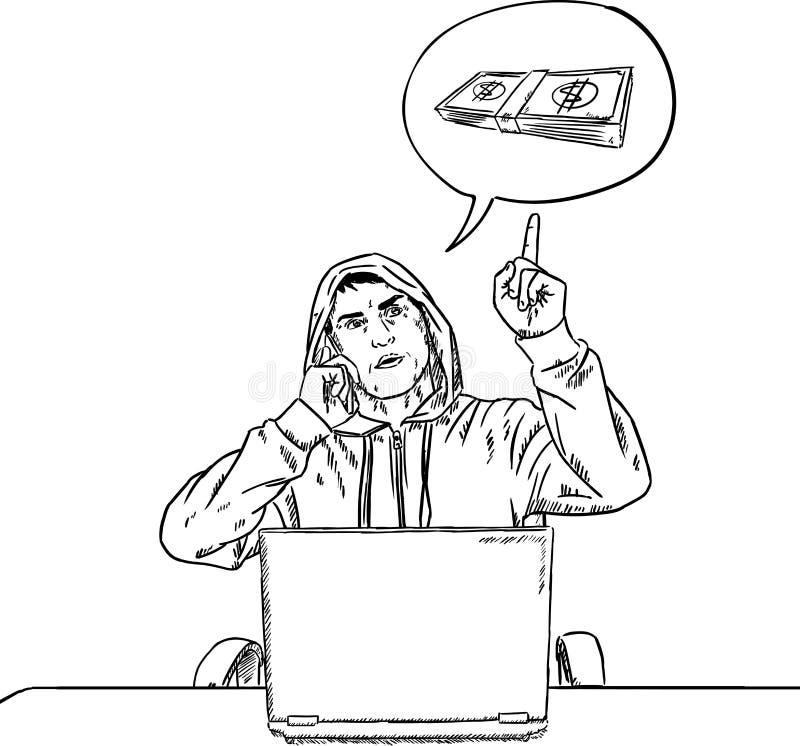 剪影谈话在手机和指向金钱泡影的黑客样式乱画 库存例证