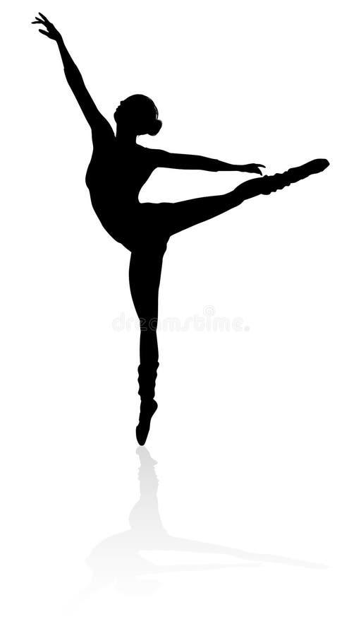 剪影跳芭蕾舞者 皇族释放例证