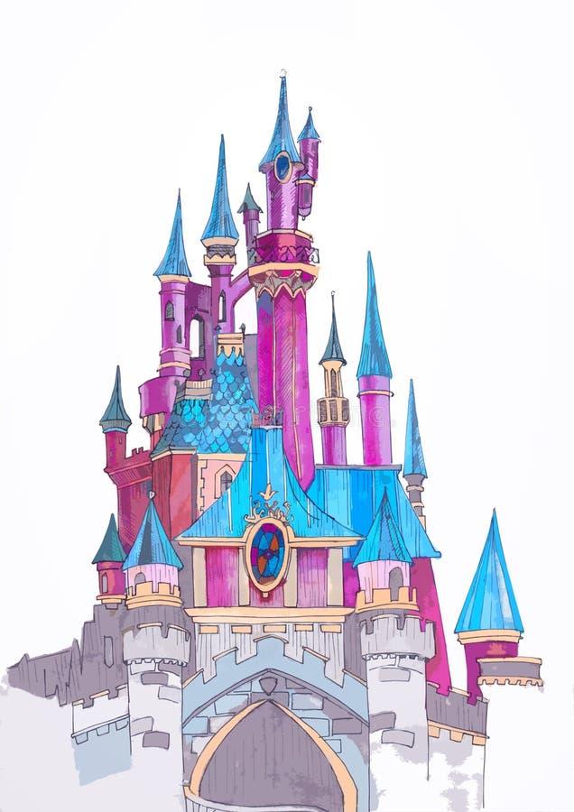 剪影迪斯尼乐园城堡 库存例证