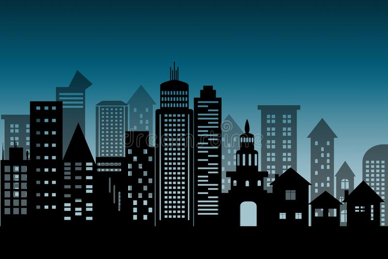 剪影都市风景建筑大厦摩天大楼象 黑在蓝色深刻的背景的设计平的样式与拷贝空间不适 向量例证