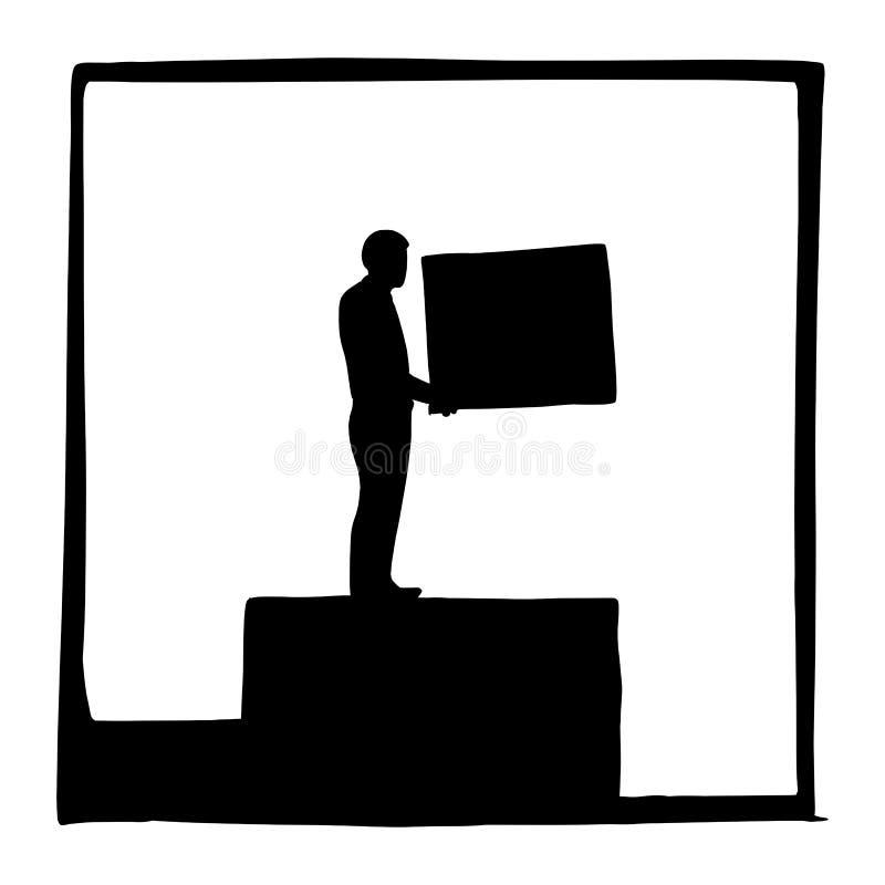 剪影隐喻商人他的事业传染媒介例证剪影的大厦步乱画在白色隔绝的手拉 库存例证