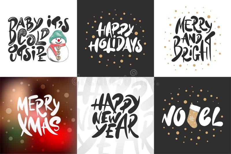 剪影集合圣诞节、诺亚和新年假日 详细的葡萄酒蚀刻图画 皇族释放例证