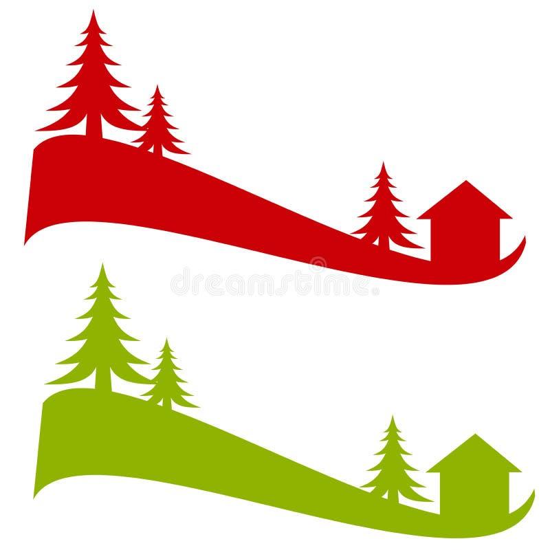 剪影雪结构树冬天 皇族释放例证