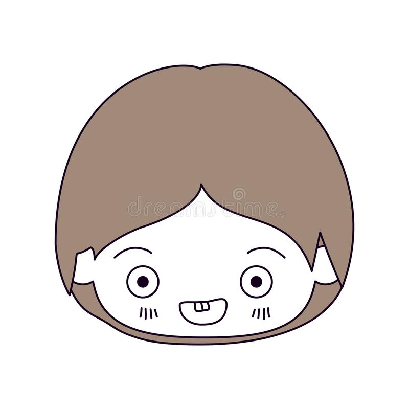 剪影颜色部分和小男孩kawaii头的浅褐色的头发微笑在特写镜头的  向量例证