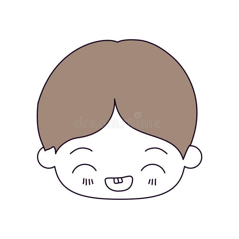 剪影颜色部分和小男孩kawaii头的浅褐色的头发有表情的笑在特写镜头的  皇族释放例证